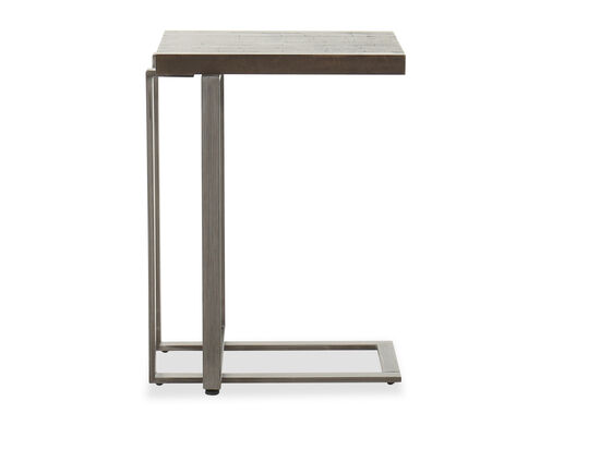 C-Shaped Contemporary Side Table in Brushed Metal