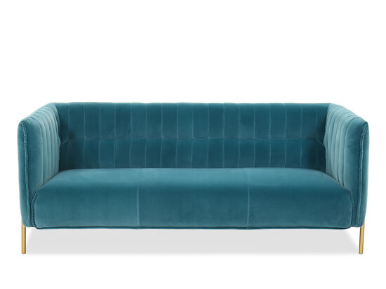 Contemporary Channel Tufted Sofa in Turquoise