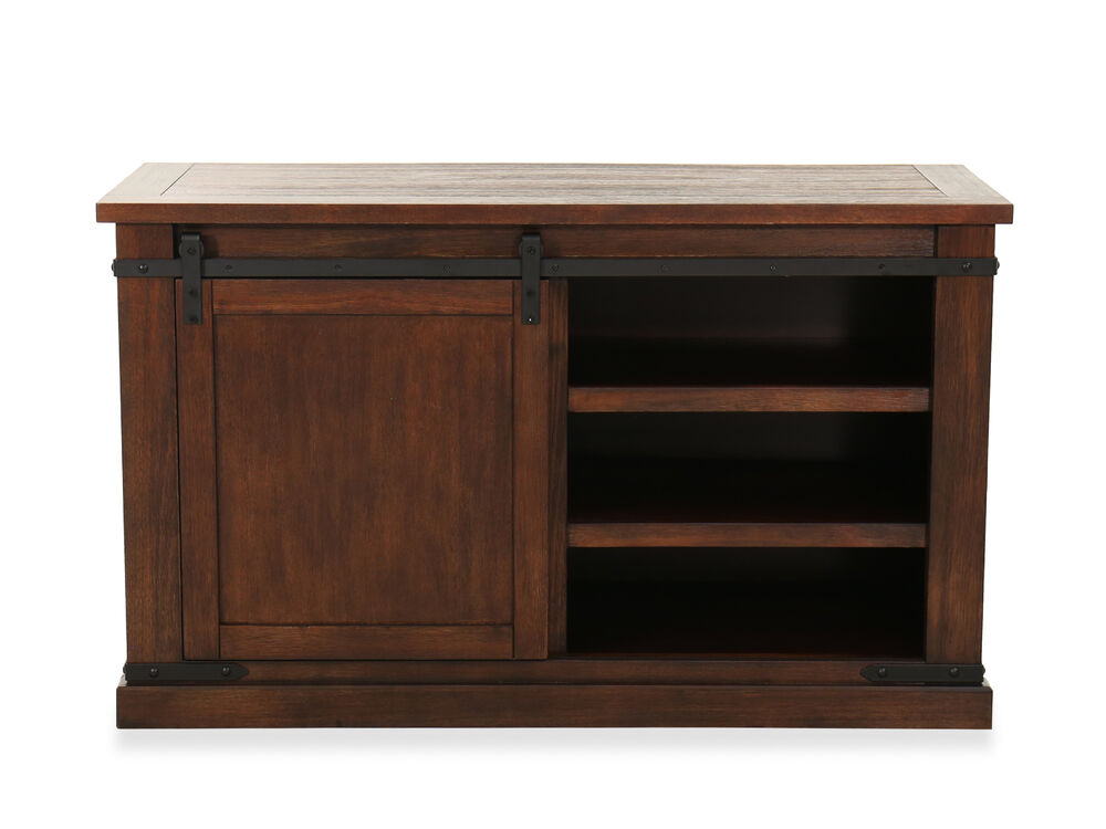 Sliding Door Casual Medium Tv Stand In Rustic Brown Mathis