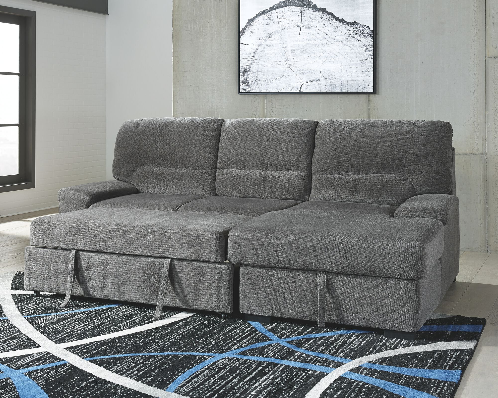 Yantis Gray LAF Sleeper Sectional with Storage   Mathis ...