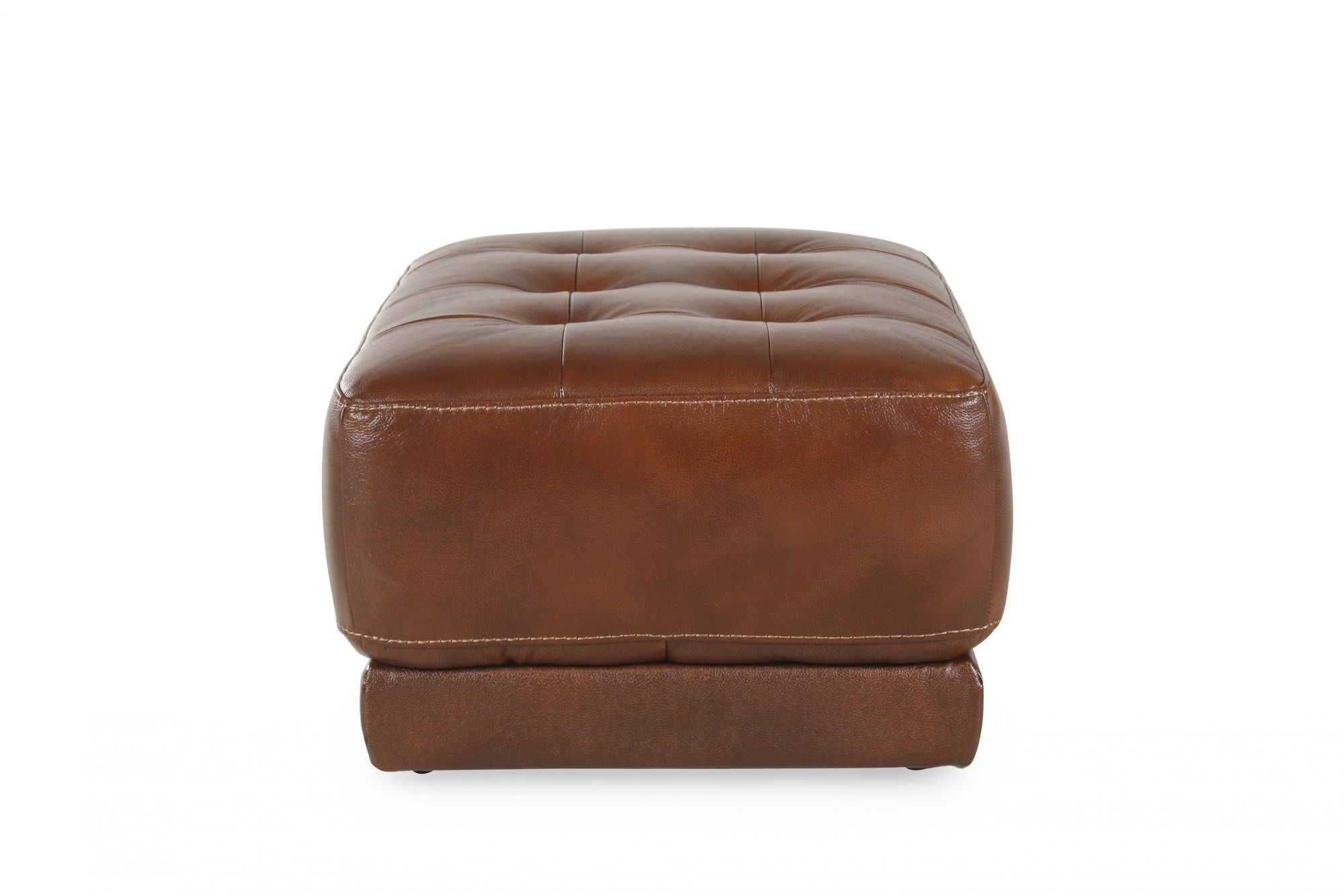 Button-Tufted Traditional Leather Ottoman In Brown