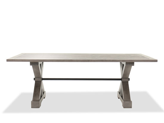 "Traditional 84"" Trestle Dining Table in French Gray"