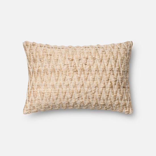 """Contemporary 13""""x21"""" Cover w/down pillow in Beige"""