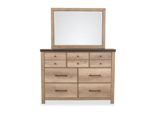 "76"" Casual Seven-Drawer Dresser & Mirror in Tan"