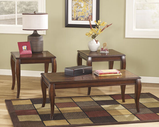 Three-Piece Flare Leg Traditional Accent Table Set in Dark Brown