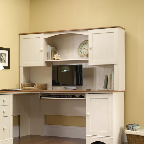 """66"""" Transitional Two-Door Hutch in Antiqued White"""