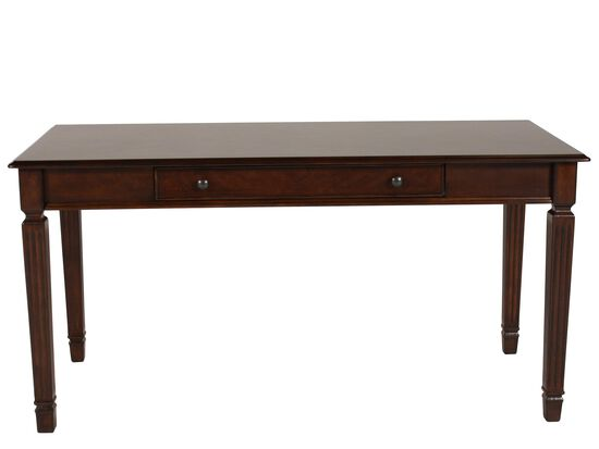 "60"" Traditional Fluted-Leg Desk in Brown"