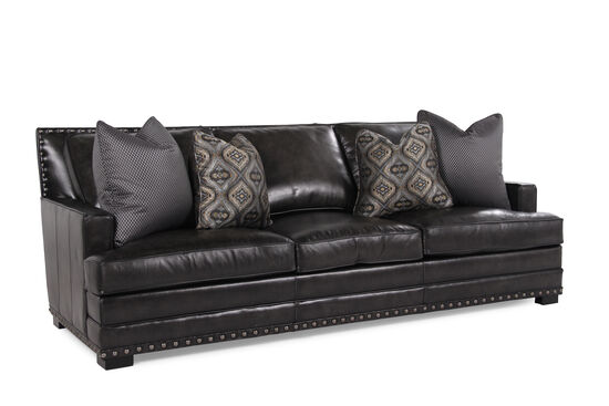 """Nailhead-Accented Leather 94"""" Sofa in Graphite"""