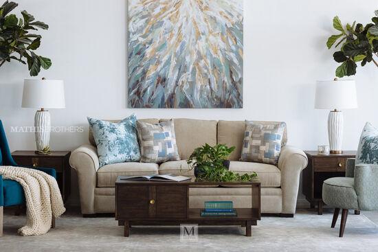 Casual Queen Sleeper Sofa in Light Brown