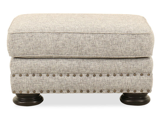 Nailhead-Trimmed Contemporary 32'' Ottoman in Gray