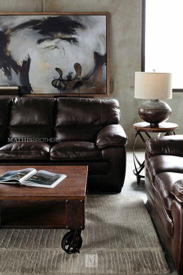 "87"" Leather Sofa in Dark Brown"