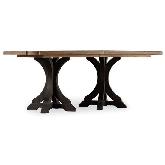 Corsica Dark Rectangle Pedestal Dining Table (dark Base/light Top) in Dark Wood