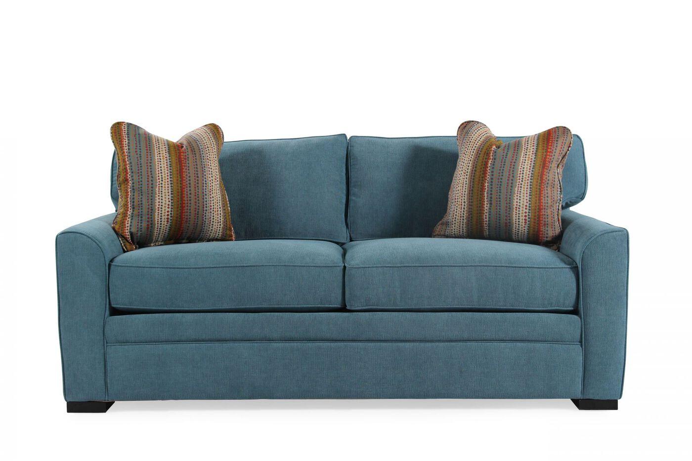 "Transitional 83"" Queen Sleeper Sofa in Sapphire Blue ..."