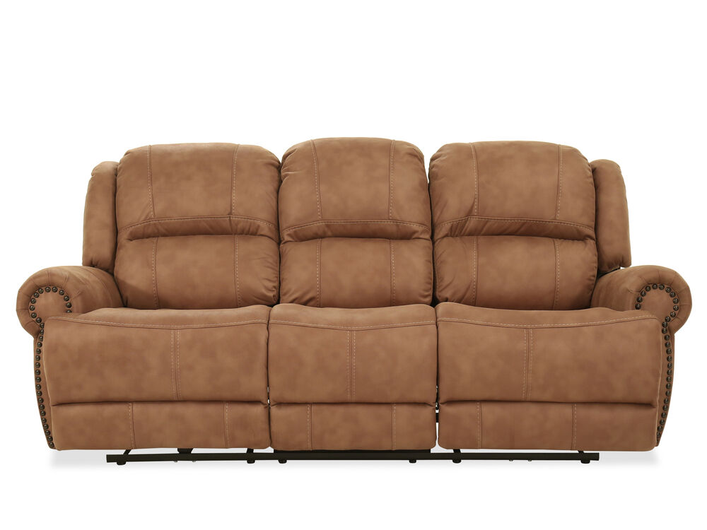 Nailhead-Accented Contemporary Power Reclining Sofa in Brown