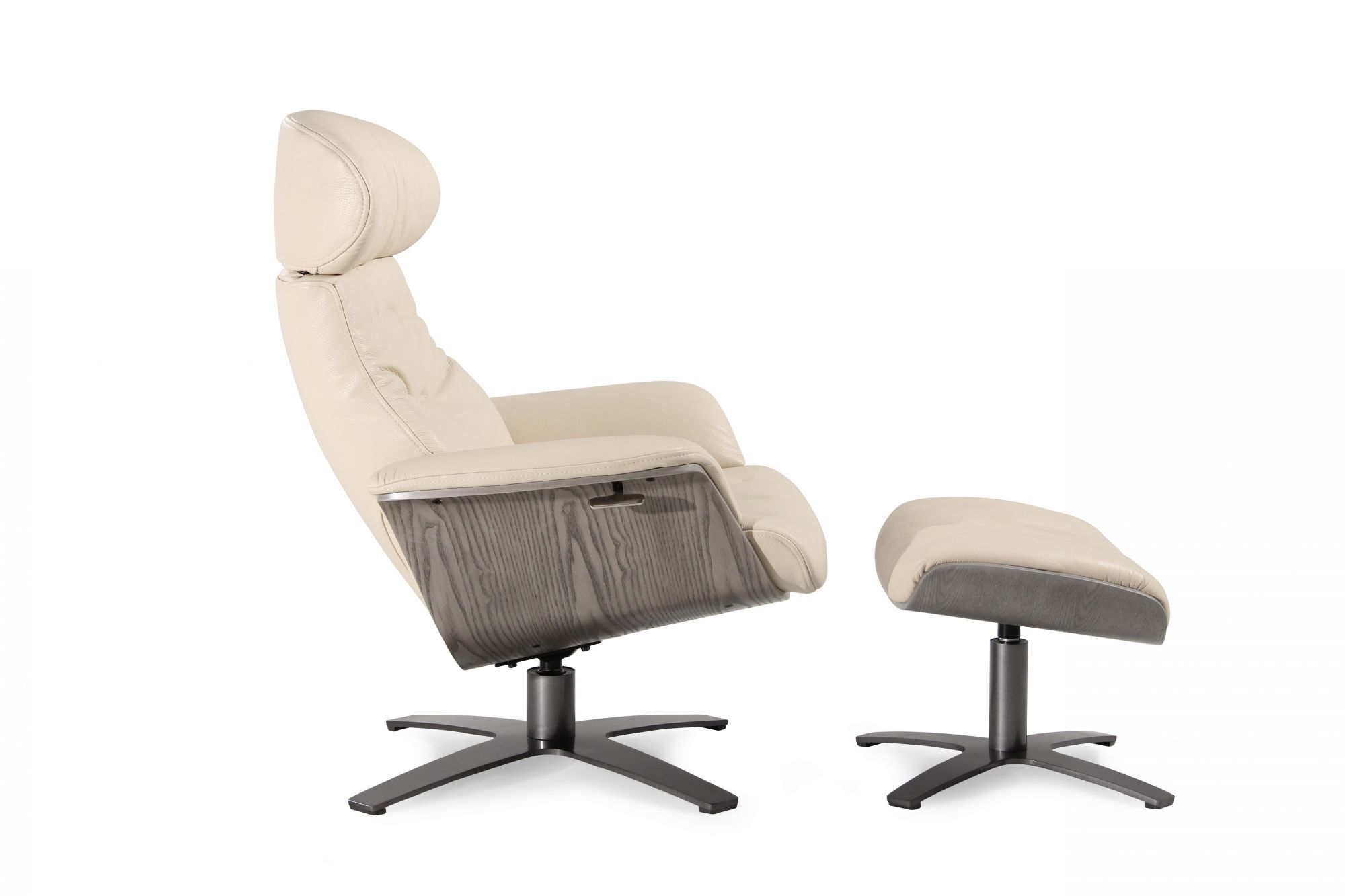 boulevard cream leather swivel recliner and ottoman