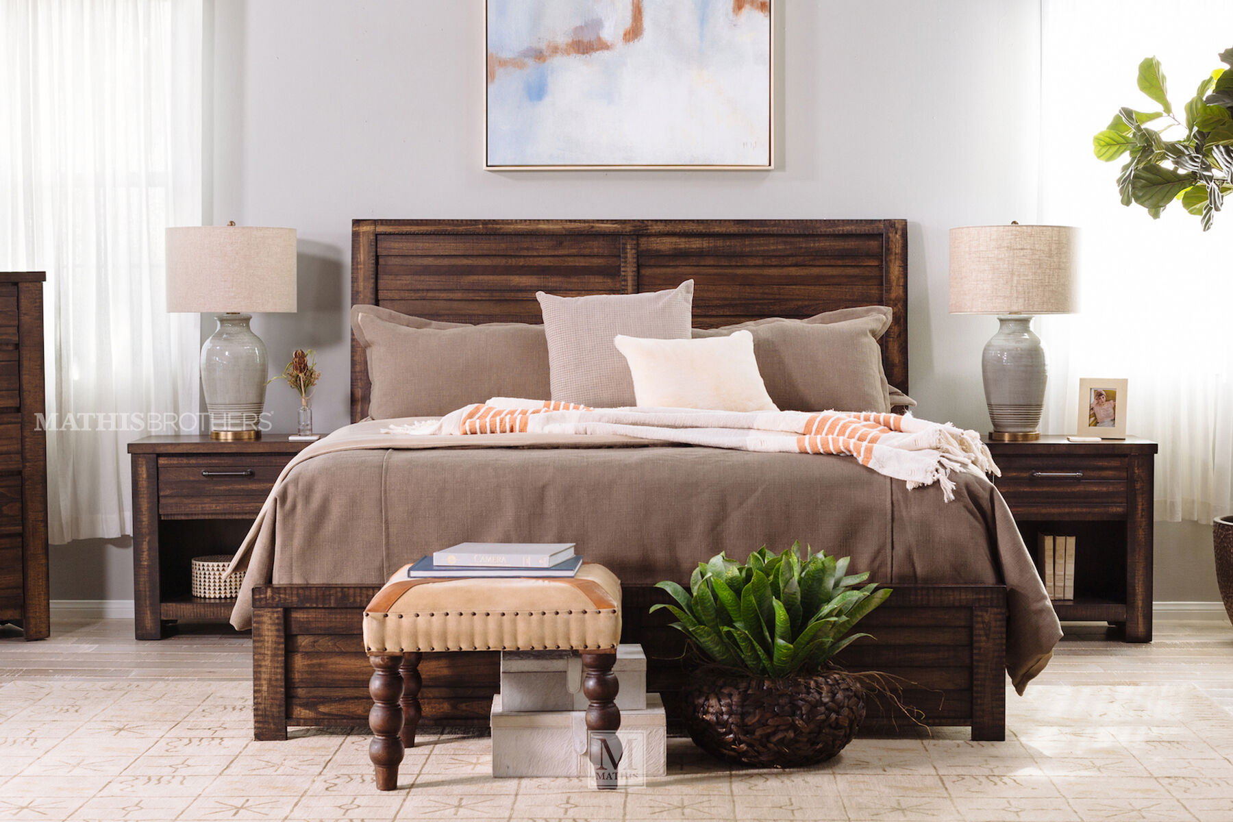 ... Four Piece Traditional Bedroom Set In Brown Tobacco ...