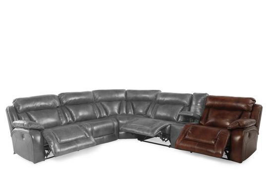 """Three-Piece Traditional Nailhead Bordered 185"""" Sectional in Dark Russet Brown"""