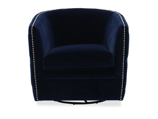 Nailhead-Trimmed Contemporary Swivel Accent Chair in Blue