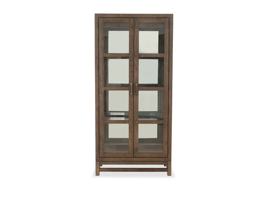 Transitional Curio Bunching Cabinet in Tawny