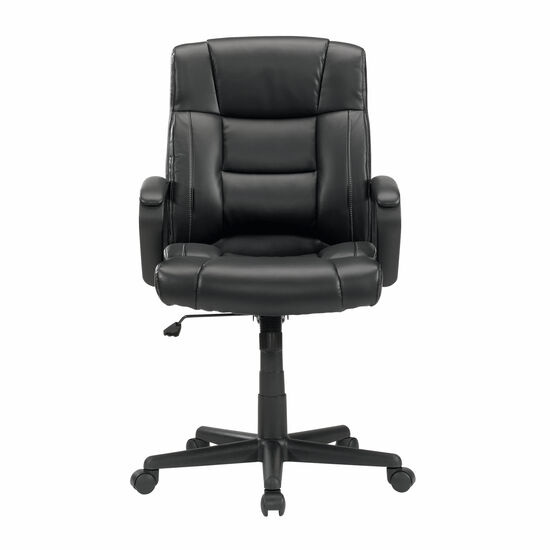 Leather Contoured Manager's Swivel Tilt Chair in Black
