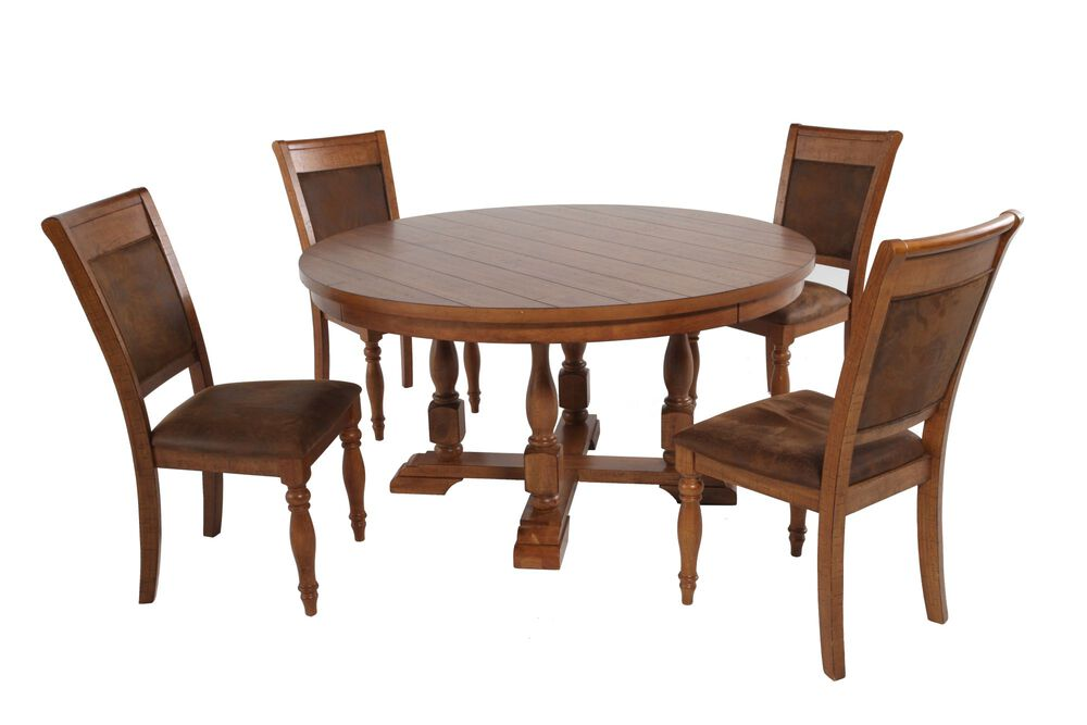 Five-Piece Round Extension 58'' Dining Set in Brown