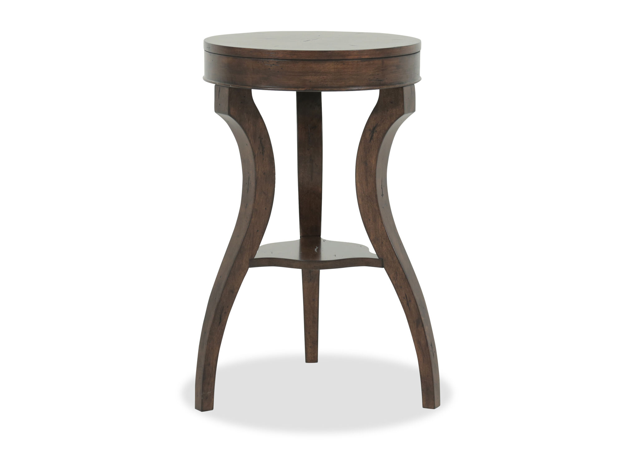 Earthy furniture Unique Round Top Contemporary Accent Table In Earthy Brown Mathis Brothers Furniture Overstock Round Top Contemporary Accent Table In Earthy Brown Mathis