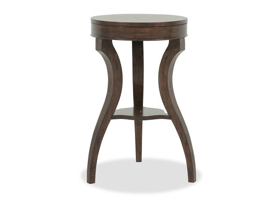 Round Top Contemporary Accent Table in Earthy Brown