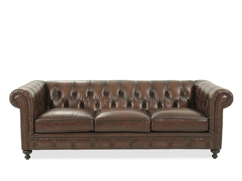 Leather Button Tufted 92 5 Sofa In Dark Brown Mathis Brothers
