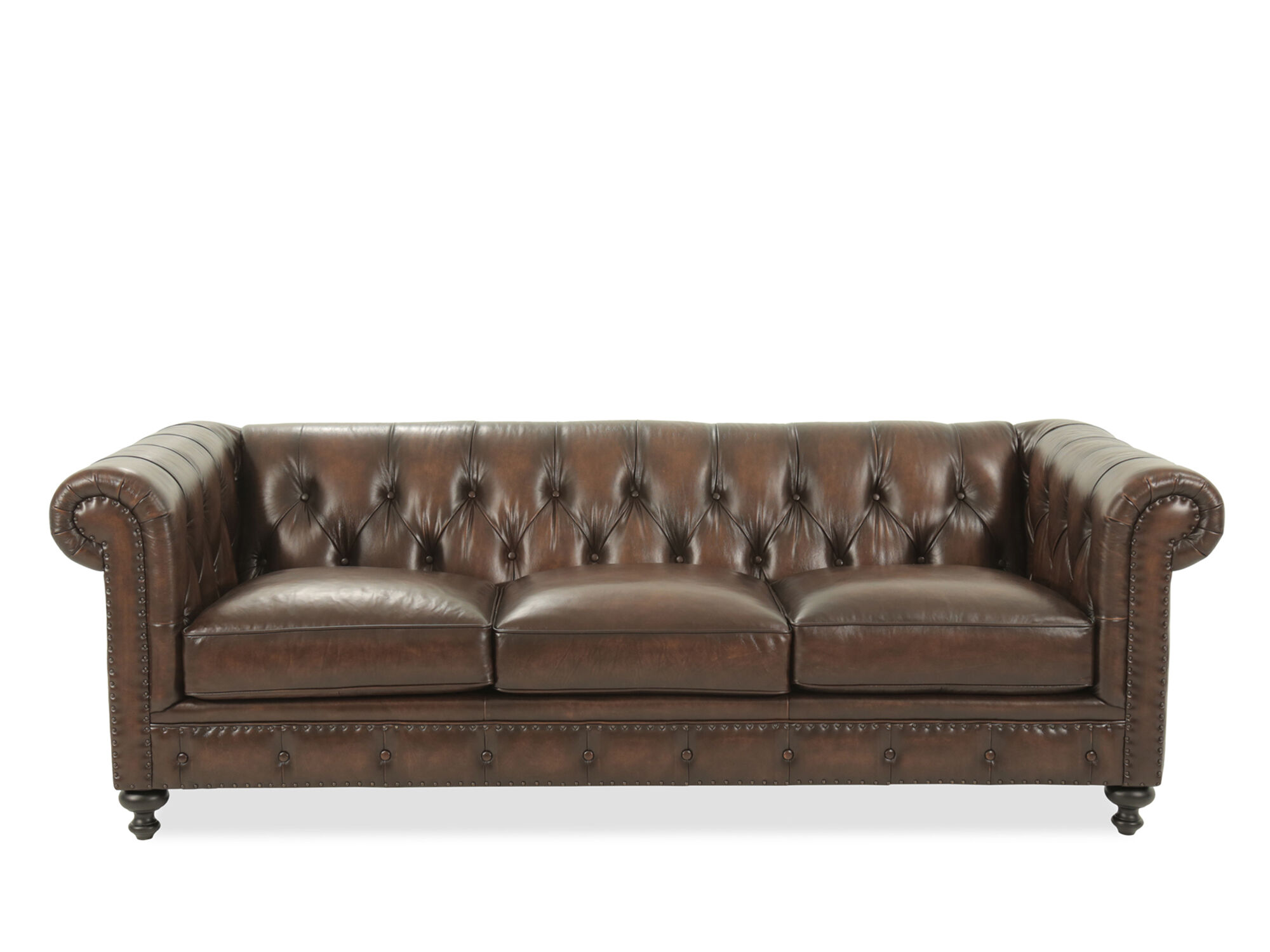 Leather Button Tufted 92.5u0026quot; ...