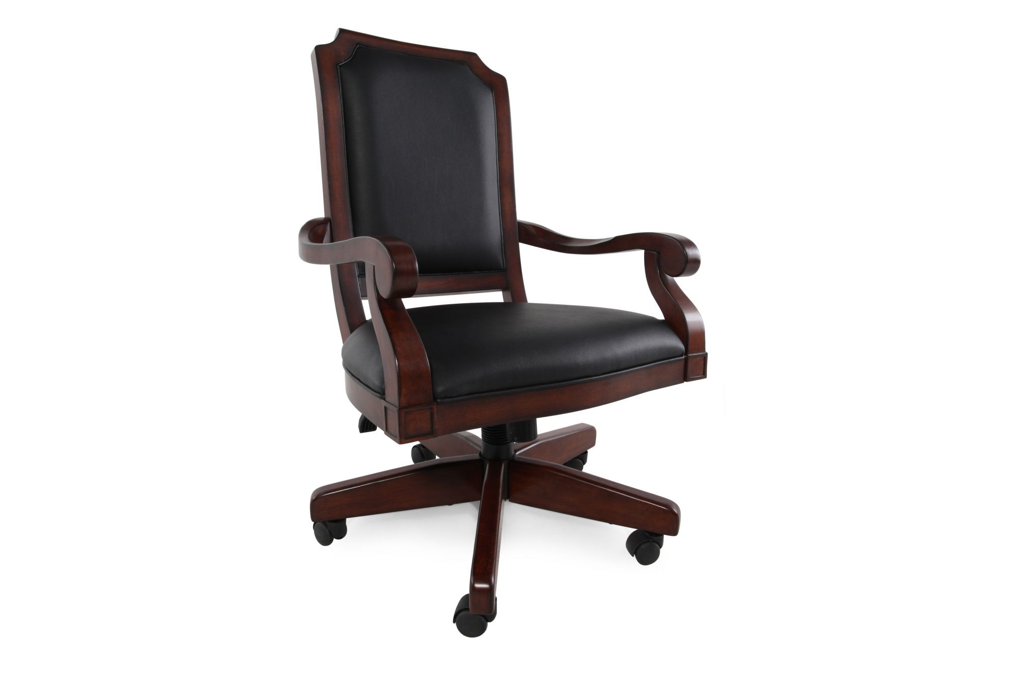 Casters Swivel Office Chair In Dark Cherry