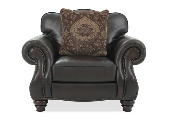 """Rolled Arm Leather 50"""" Chair in Brown"""