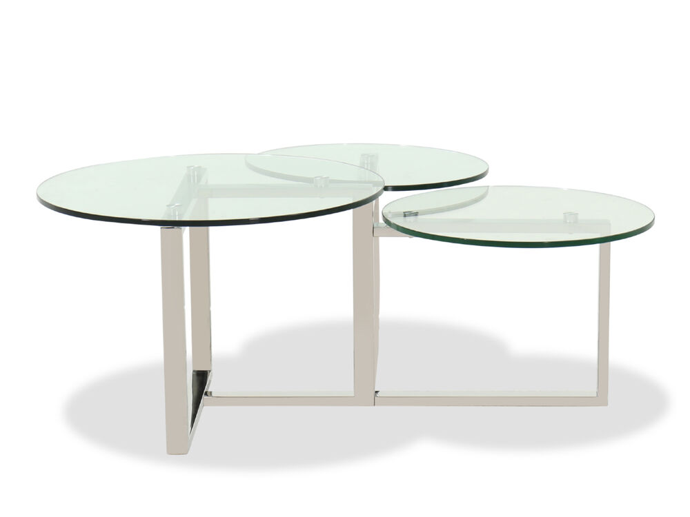 Contemporary 46 Glass Top Cocktail Table In Silver Mathis Brothers Furniture