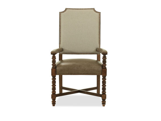 """Transitional Nailhead-Accented 43"""" Arm Chair in Dark Brown"""