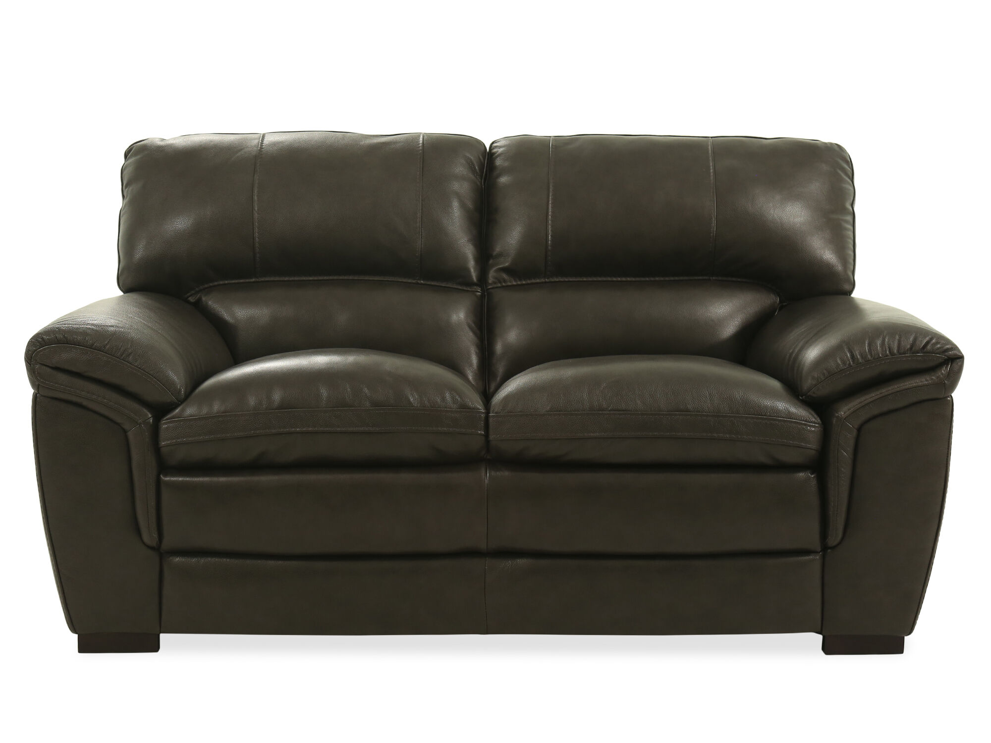Casual Leather 69 Loveseat In Gray