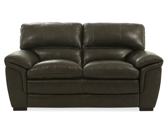 """Casual Leather 69"""" Loveseat in Gray"""