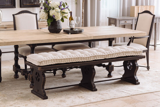 Tufted Casual 72'' Bedroom Bench in Tuscany White/Black