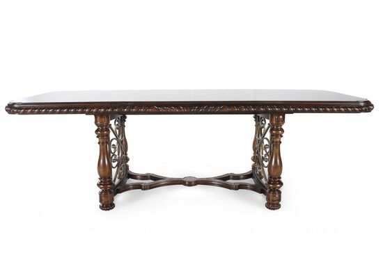 "76"" Turned Leg Traditional Dining Table in Dark Brown"
