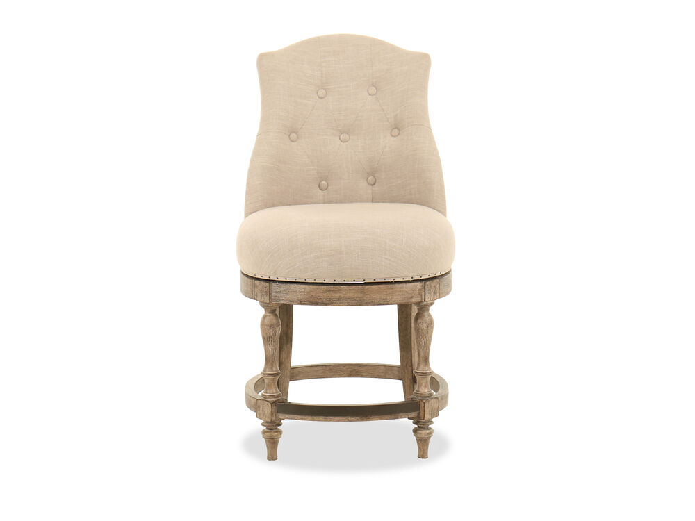 "Button-Tufted 41"" Counter Stool in Beige"