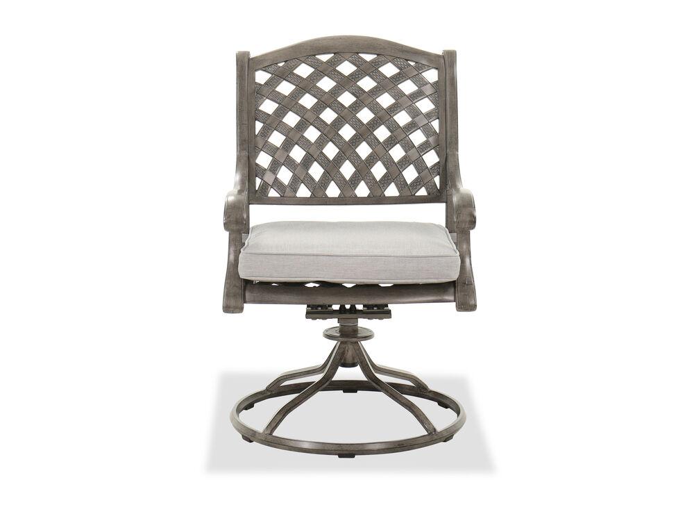 Aluminum Dining Swivel Rocker Chair in Gray