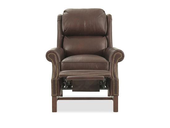 "Leather Splitback 36.5"" High Leg Reclining Loungerin Brown"