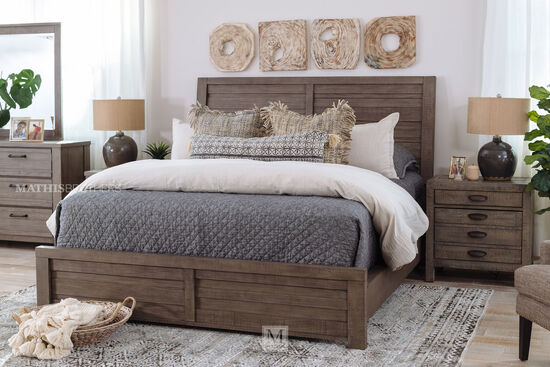 Four-Piece Wood Bed Suite in Gray