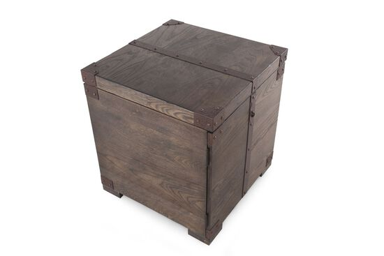 Casual Square End Table in Washed Brown