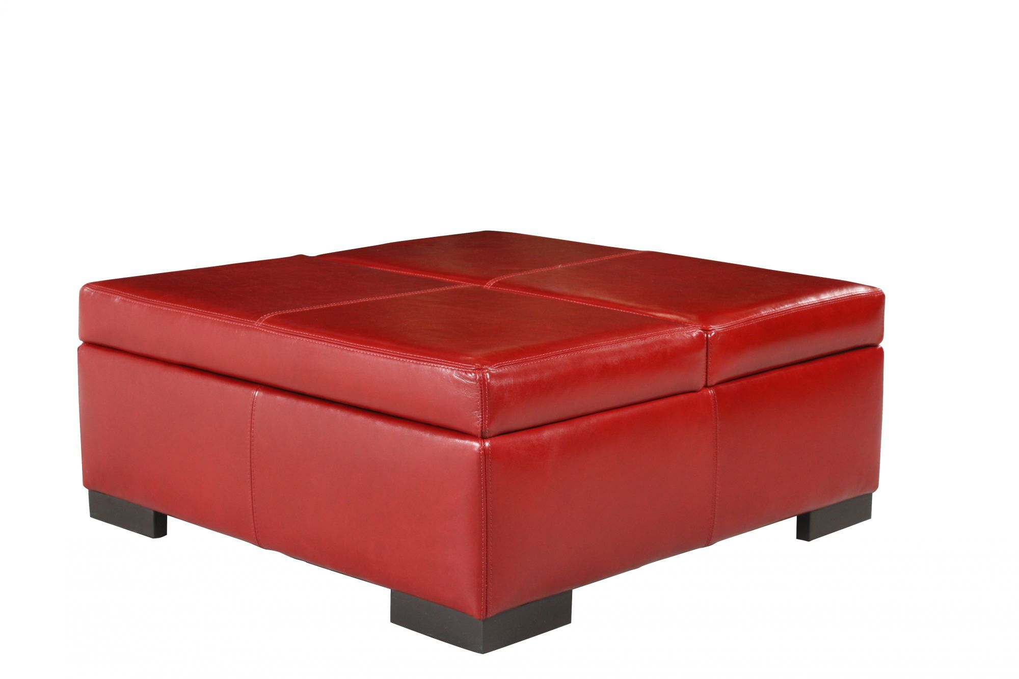 """Traditional 36"""" Leather Storage Ottoman In Red"""