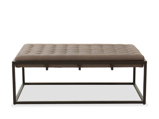 """Contemporary Tufted 52"""" Ottoman in Taupe"""