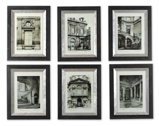 Six-Piece Framed Paris Scene Monotone Wall Art Set