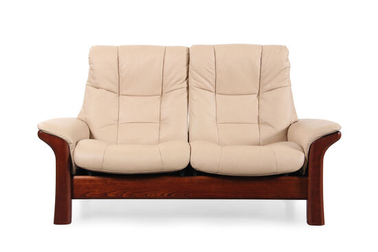 """Contemporary Leather 65"""" Loveseat in Almond"""