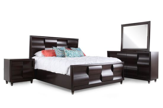 Four-Piece Weave-Patterned Bedroom Set in Dark Cherry
