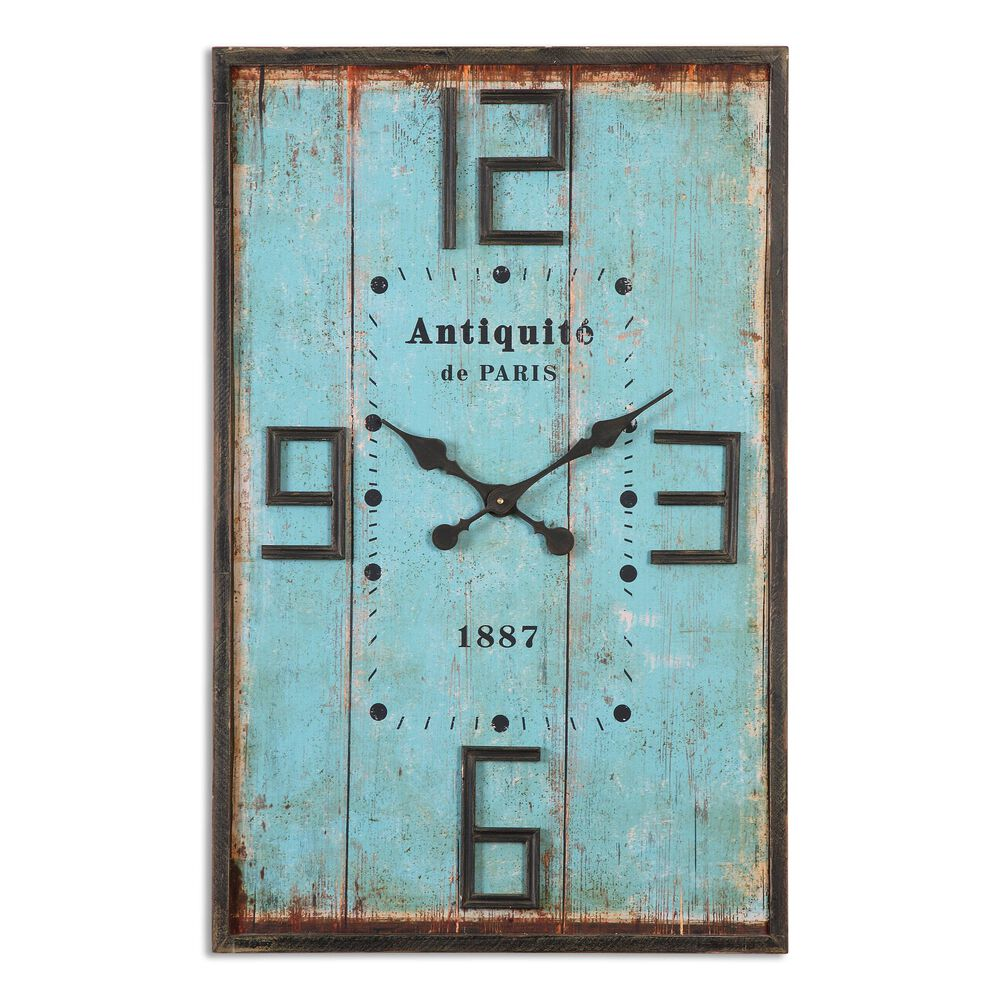 Paneled Distressed Wall Clock in Aged Blue
