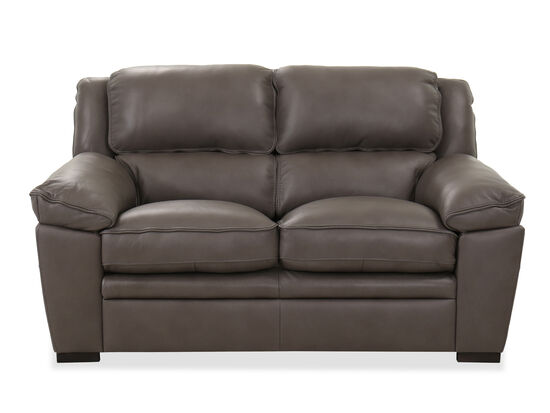 Casual Leather Loveseat in Charcoal