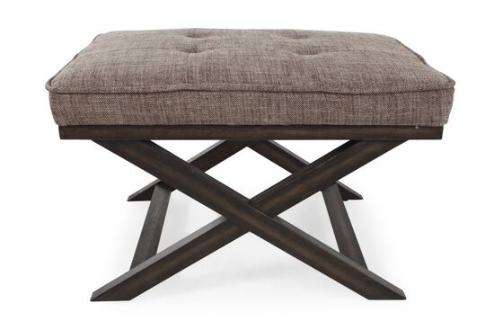 Button-Tufted Contemporary Accent Ottoman in Brown